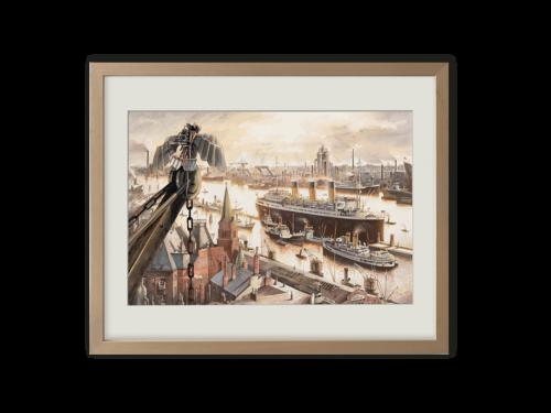 Torben Kuhlmann Mäuseabenteuer Lindbergh Kunstdruck Flugversuch im Hafen