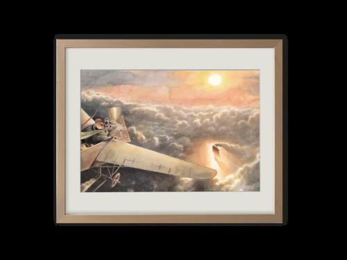 Torben Kuhlmann Mäuseabenteuer Lindbergh Kunstdruck Maus am Himmel